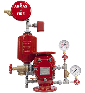 UL LISTED ALARM CHECK VALVES Armaş FCV Alarm Check Valve is designed for wet applications where the water has no the danger of frost. The pressurized water which is inside of the pipe-line is discharged by sprinklers because of fire situation.